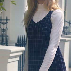 Black and White Plaid Overall Dress